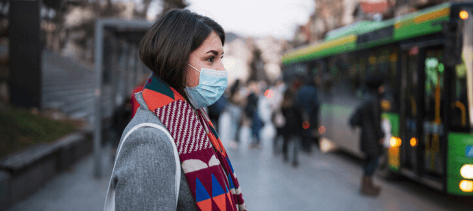 Image of woman wearing health mask