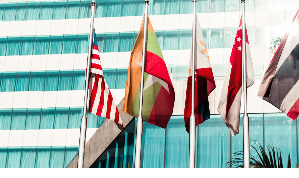 flags in front of office building