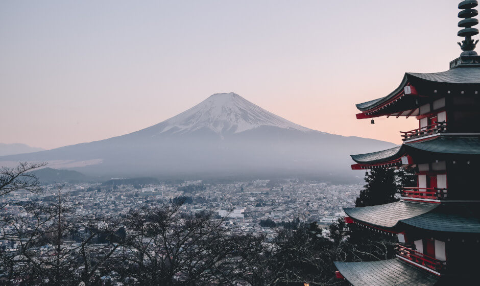 Mt. Fuji and temple - Japanese