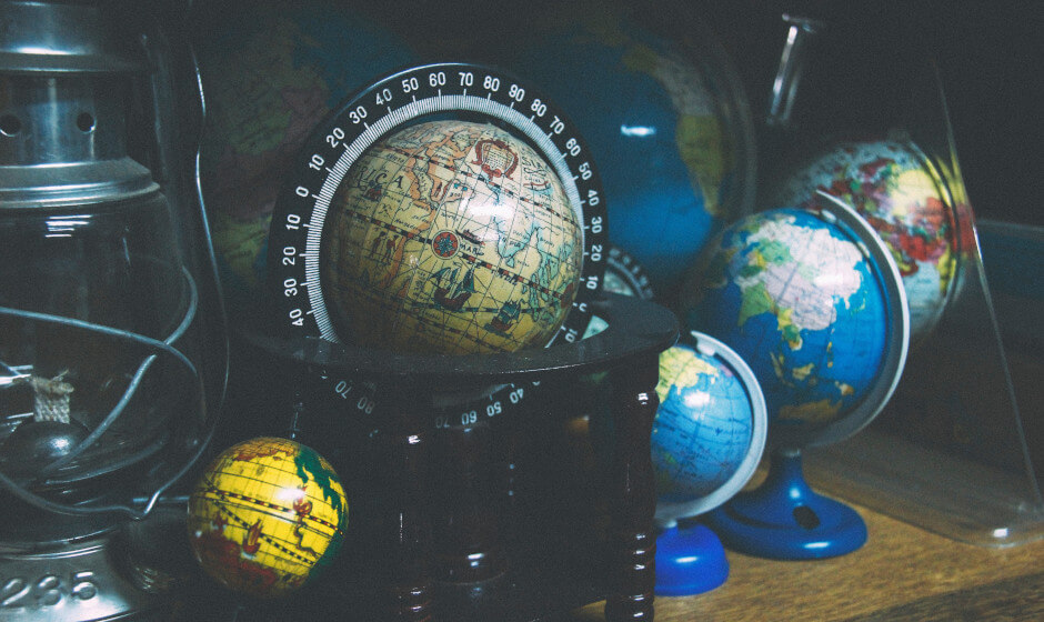 collection of globes - popular languages