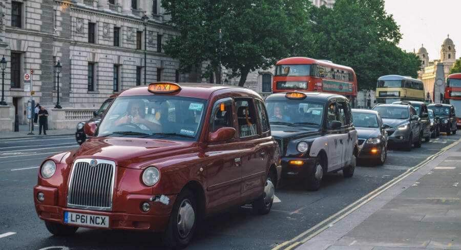 London cabs in a line