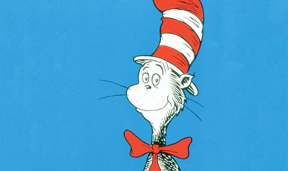 Illustration of the Cat in the Hat with a blue background