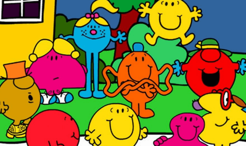 Mr. Men and Little Miss characters gathered outside