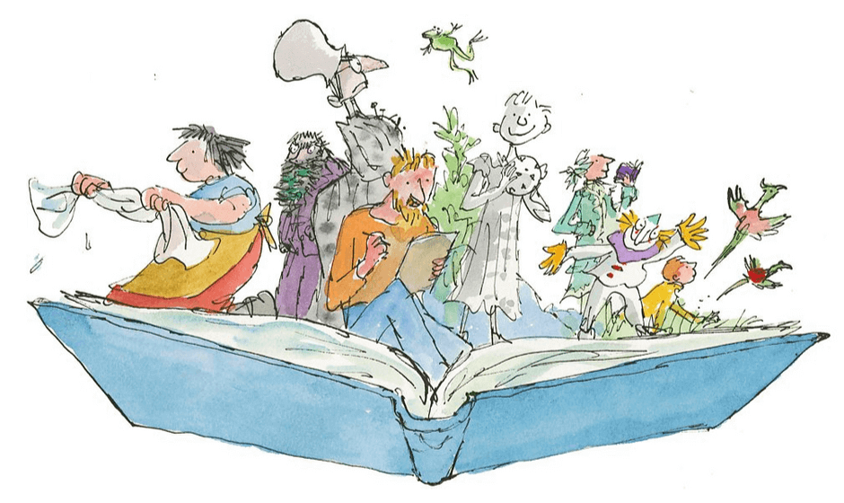 Roald Dahl characters emerging from a book