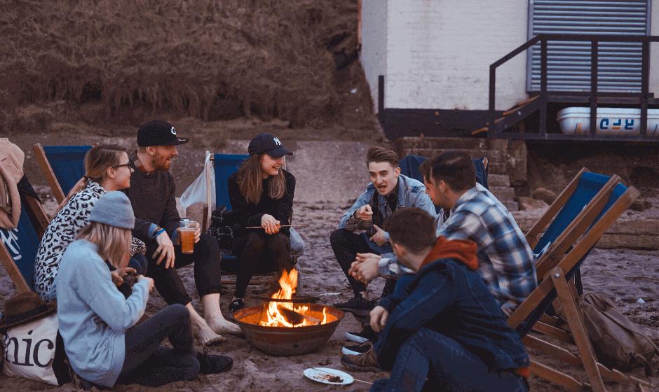 friends, campfire