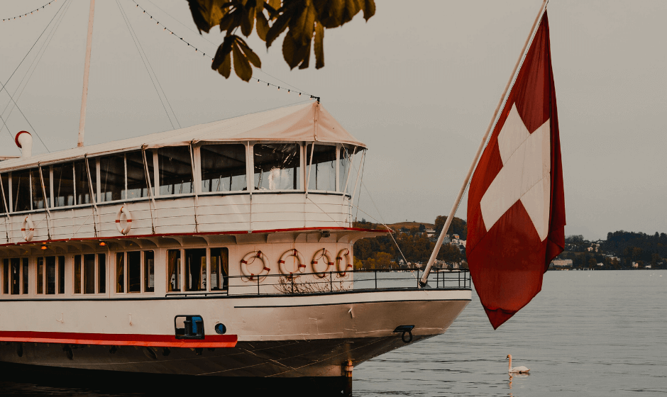 boat sailing, swiss flag