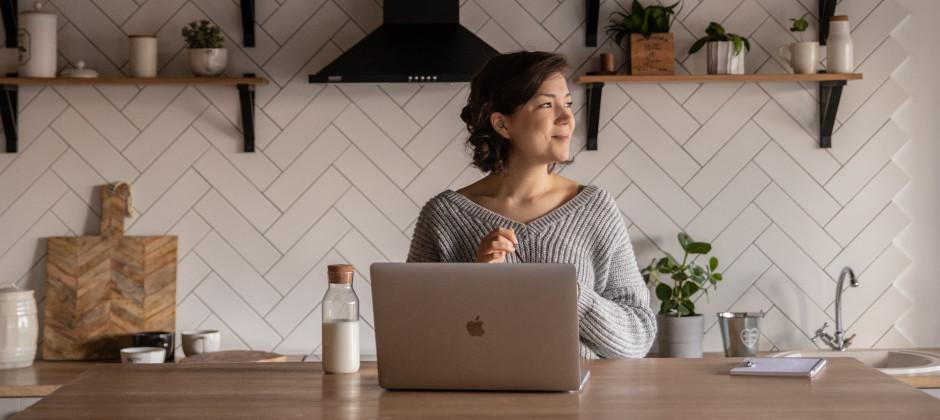 Woman preparing for a virtual interview