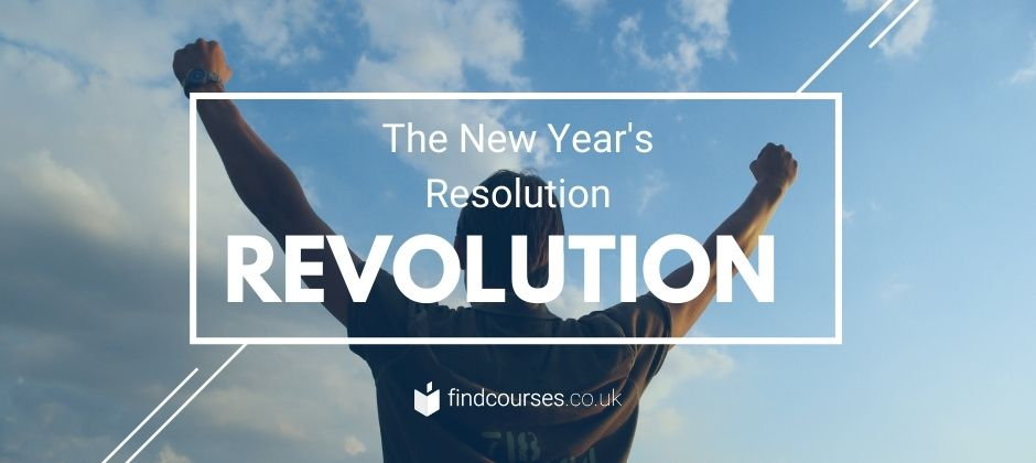 resolution revolution header image with a man punching the sky