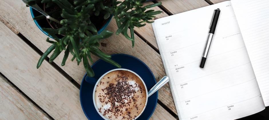 calendar and coffee