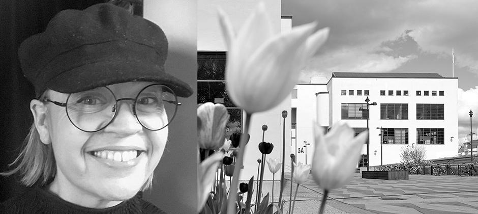 Caroline Düberg Martinsson pluggade till kvalitets- och produktionsutvecklare vid Nordiska Textilakademin. Idag är hon miljö- och kvalitetssamordnare på Elis Textil Service AB i Malmö med fokus på hållbarhetsarbete. Här på bild ihop med Textil Fashion Centers lokaler mitt i Borås där Nordiska Textilakademin har sin lokaler.