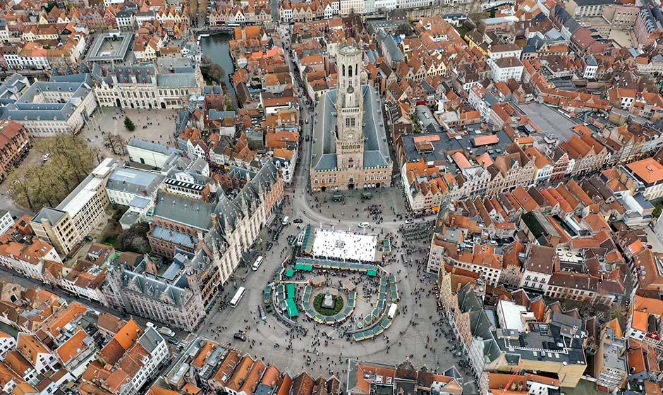 Birdseye view of Bruges, Belgium