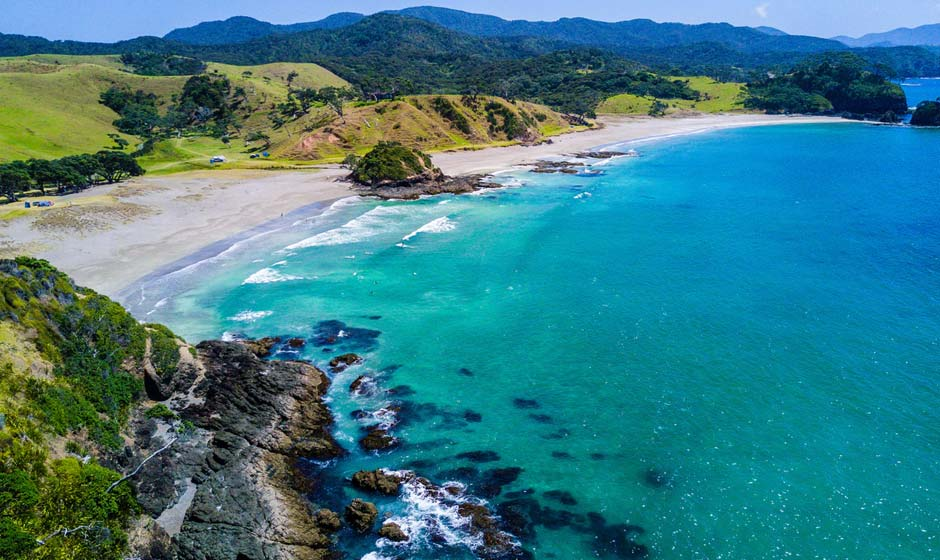 Aerial view of a beach in New Zealand