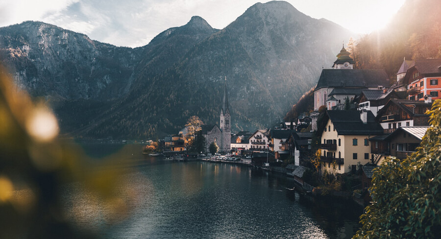 The town of Hallstatt, Austria