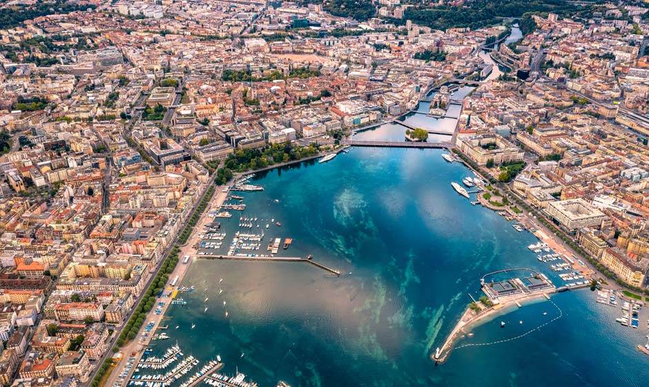 Birdseye view of Geneva, Switzerland
