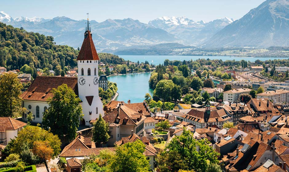 Thun cityspace with Alps mountain and lake in Switzerland