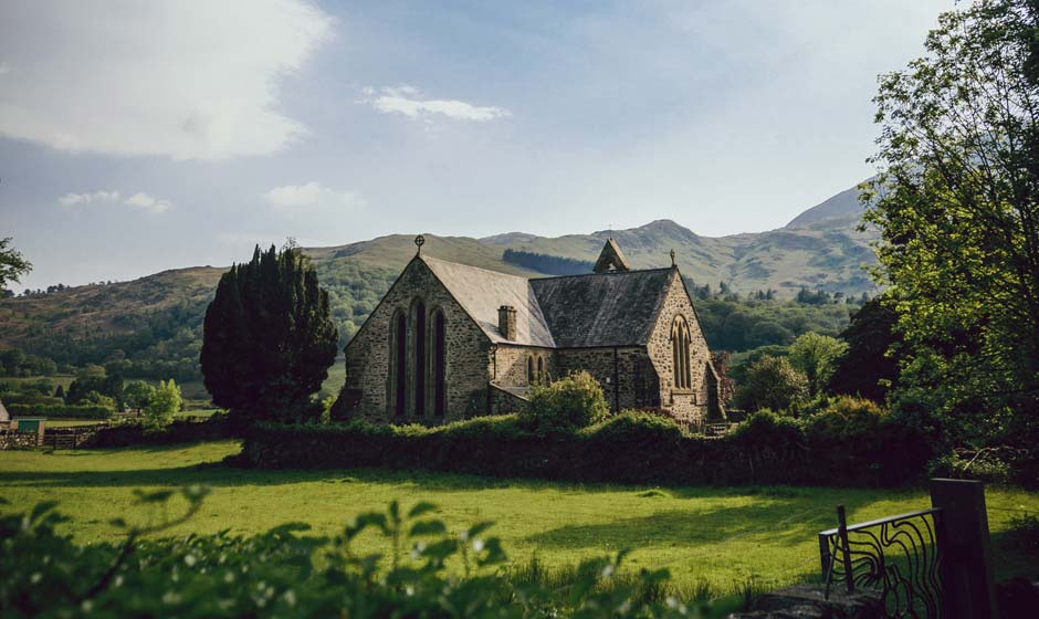 A small church in the Wales countryside