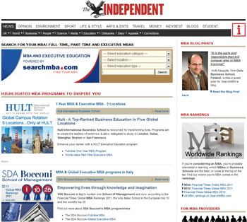 SearchMBA.com works in partnership with The Independent to power their online MBA Guide