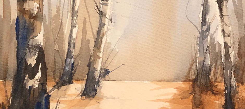 Björkar med två färger – motivkurs i akvarell
