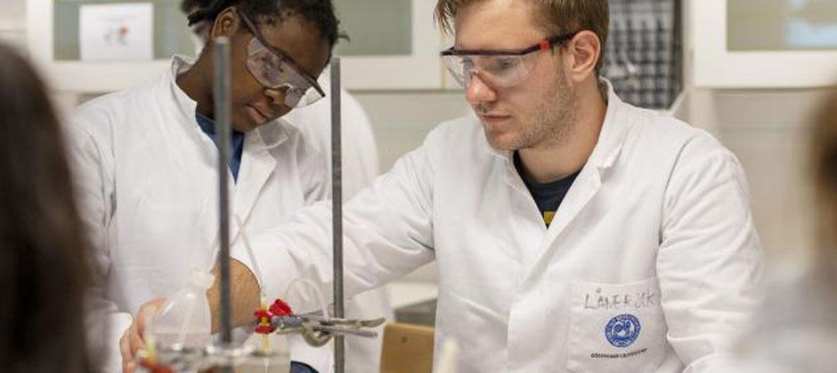 två apotekarstudenter i ett labb