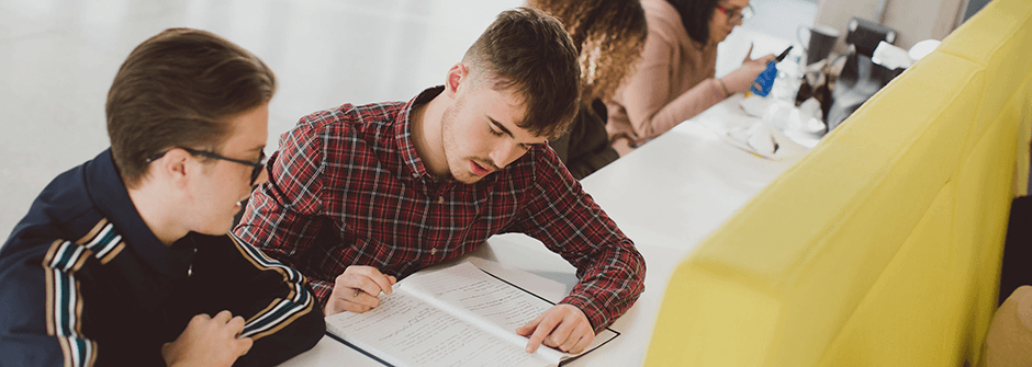 2 young men studying with books
