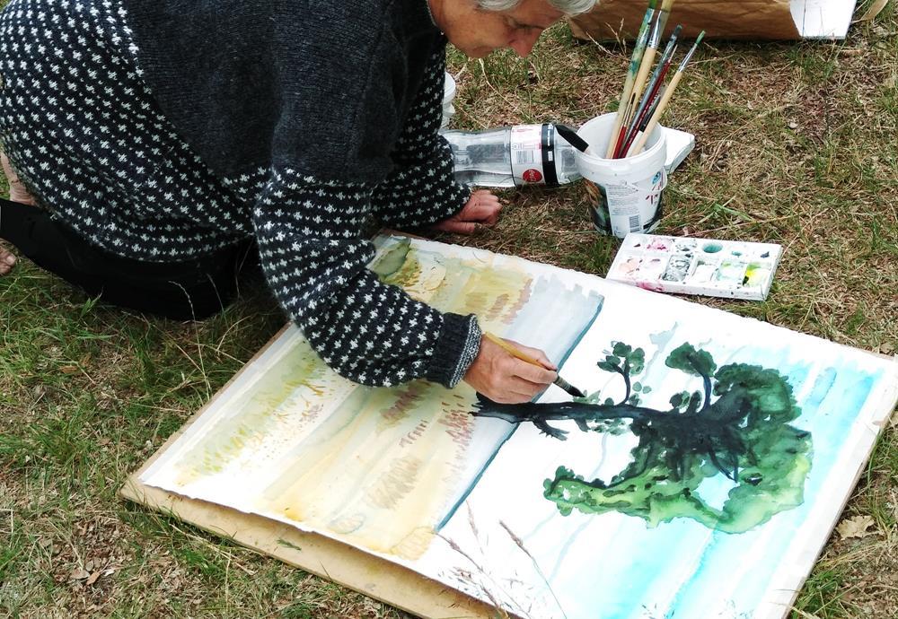 Akvarell - tusch - akryl i ateljén på Lövkullen