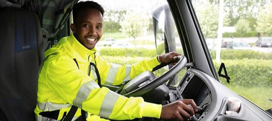 Chaufför i ett fordon