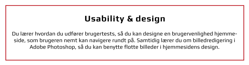 Usability og design inkl. Photoshop