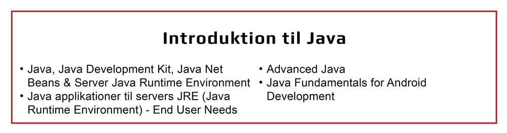 Introduktion til Java inkl. Java Developer Kit og Java Net Beans