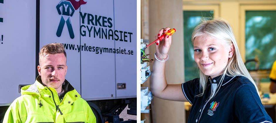 Två elever i arbetskläder framför Yrkesgymnasiets logotyp