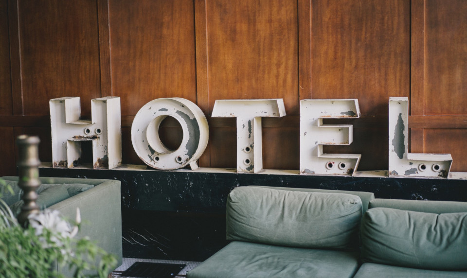 hotel sign in a lobby